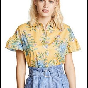 Madewell Yellow Floral Button Down Top Ruffles